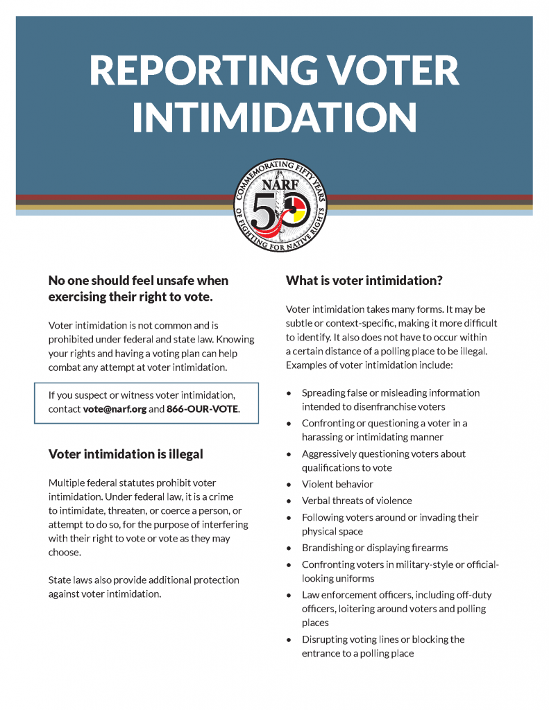 Screenshot of voter intimidation guide